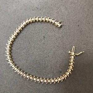 Jewelry - Round Diamond S Link 10K Gold Tennis Bracelet!